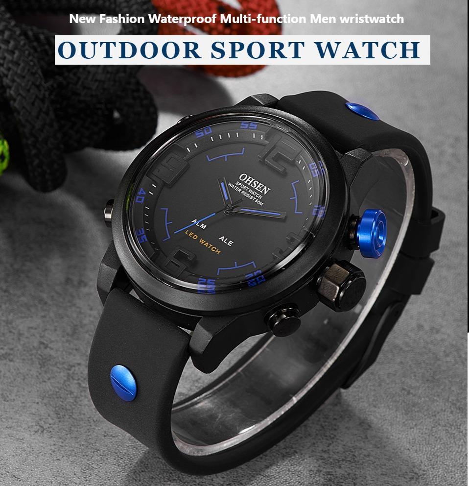 AD2820 Black Men Sport Watch Daul Display Watch OHSEN Brand - OHSEN 20