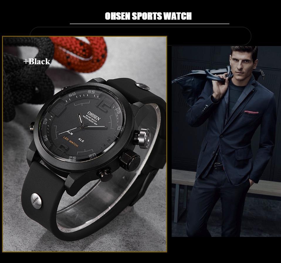 AD2820 Black Men Sport Watch Daul Display Watch OHSEN Brand - OHSEN 12