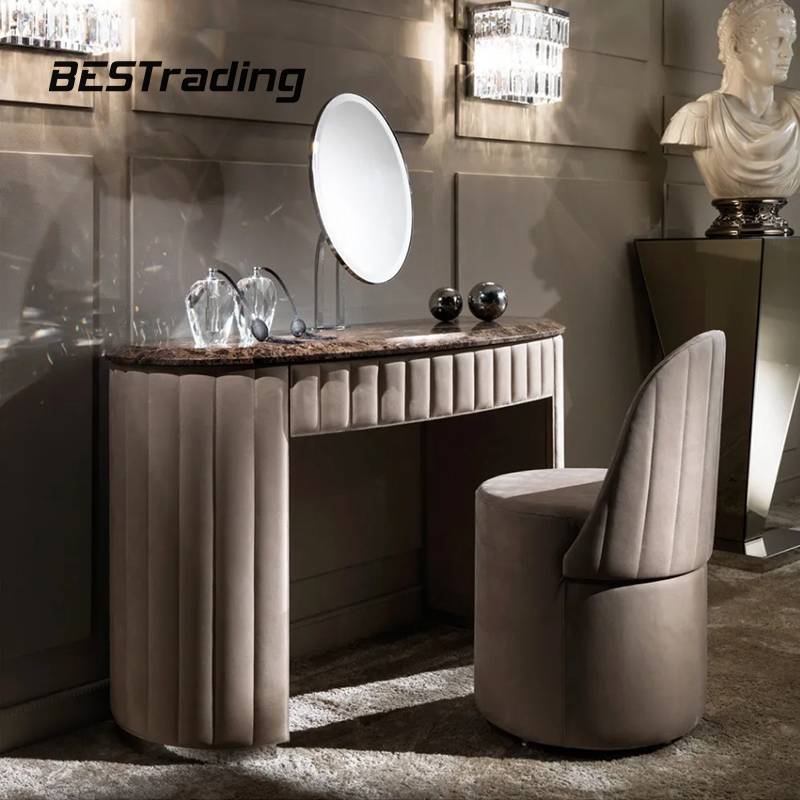 Modern dressing table with mirror and stool 10