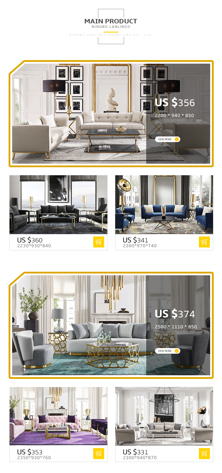 Modern Design Sofa Set Frame Sofa Combination Living Room Home Furniture Sectional Couch - Pinzheng Furniture 9