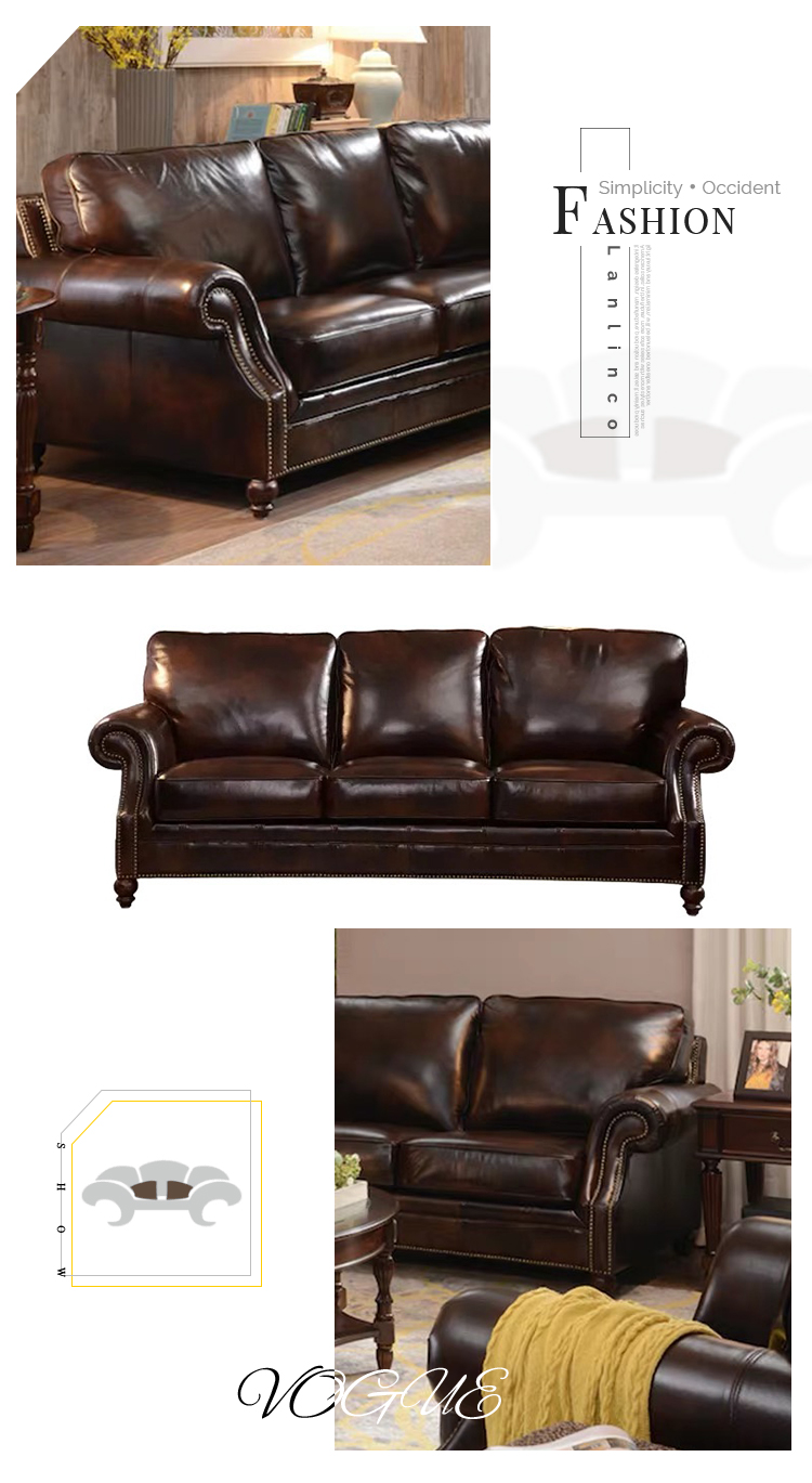 The Most Popular Morden Office 3 2 Seater Brown Couches Sectional Furniture Luxury Leather Sofa Set Three - Pinzheng Furniture-1 8