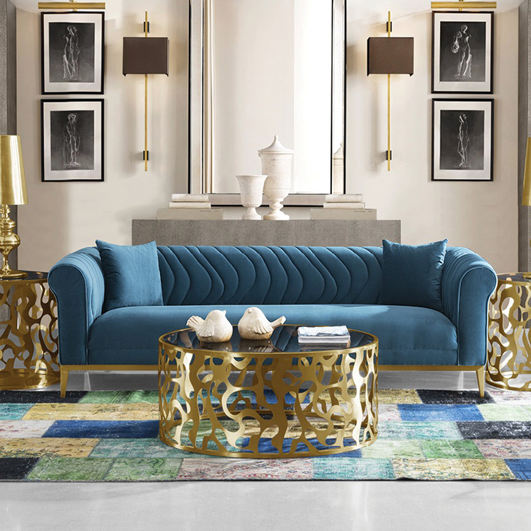 Custom New Modern Design Fabric Home Furniture 3 Seater Blue Velvet Sofa Living Room Furniture - Pinzheng Furniture 8