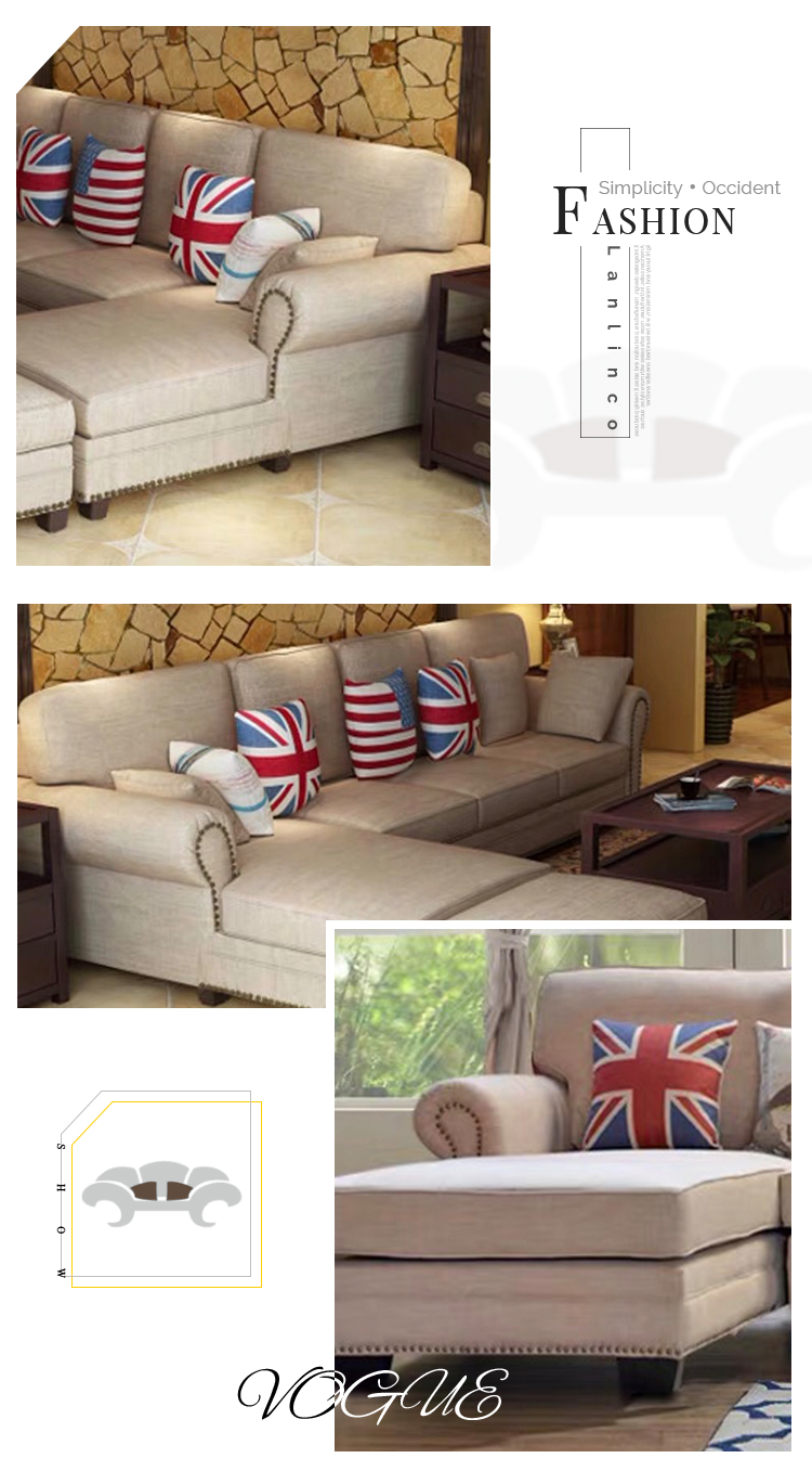Smooth Wooden Linen Fabric L Shaped Couch Furniture Corner 7 Seats Sofa for Lobby - Pinzheng Furniture 5