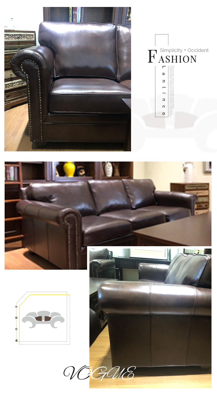 Reception 3 2 Seater Brown Couches Living Room Sectional Furniture Luxury Leather Sofa - Pinzheng Furniture 5