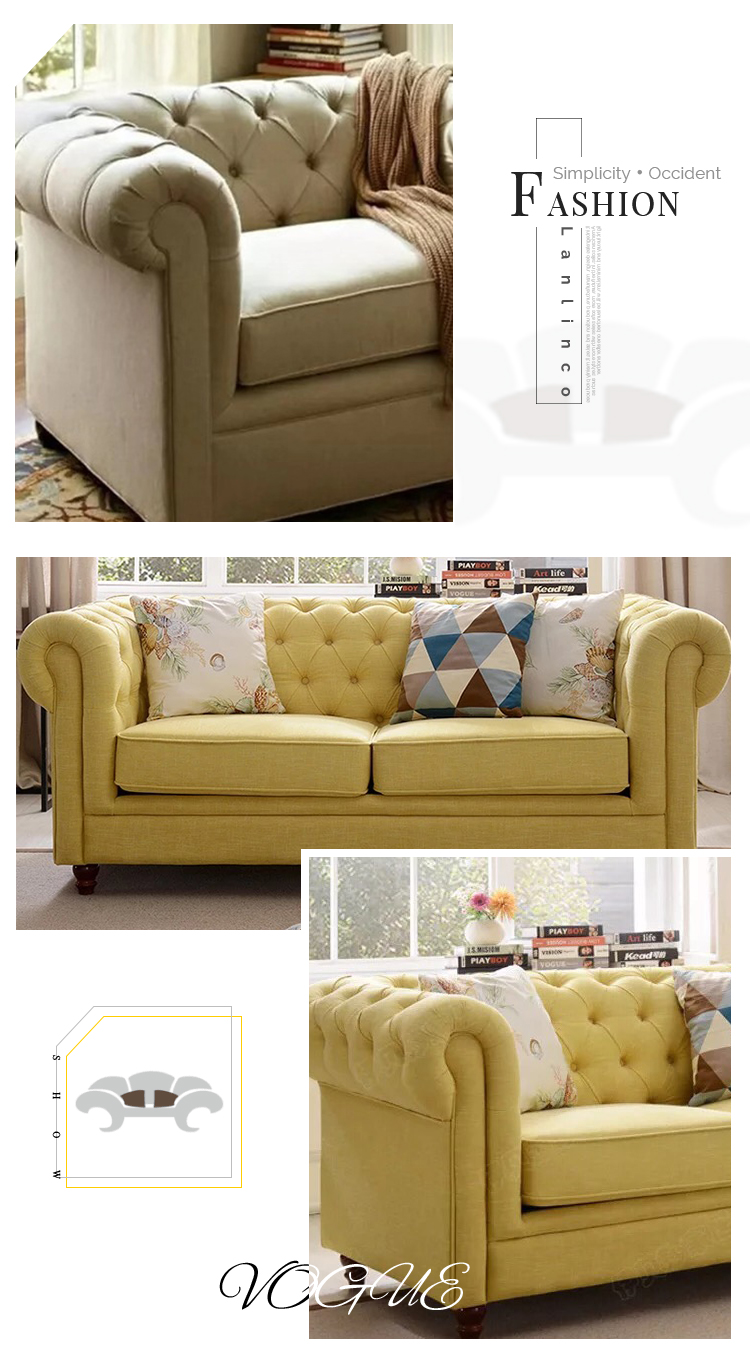 High Quality European Style Furniture Luxury Fabric Living Room Sofa Settee for Relax - Pinzheng Furniture 3