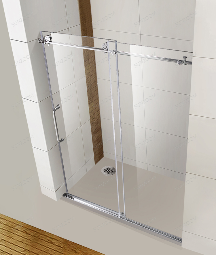 ALA shower stall handle tempered glass clear frameless glass shower enclosure sliding door shower 8