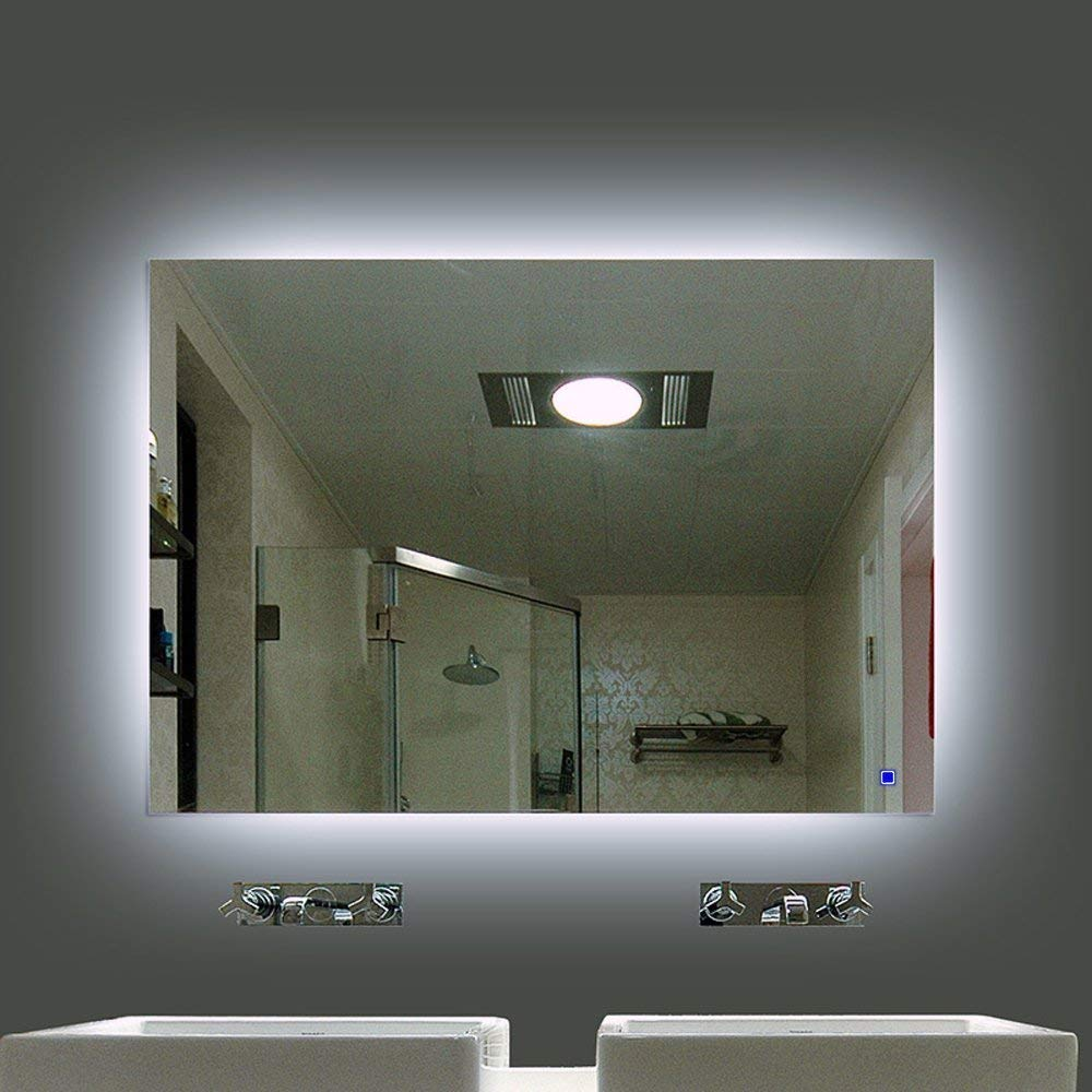 frameless wall hung large lighted make up mirror 3