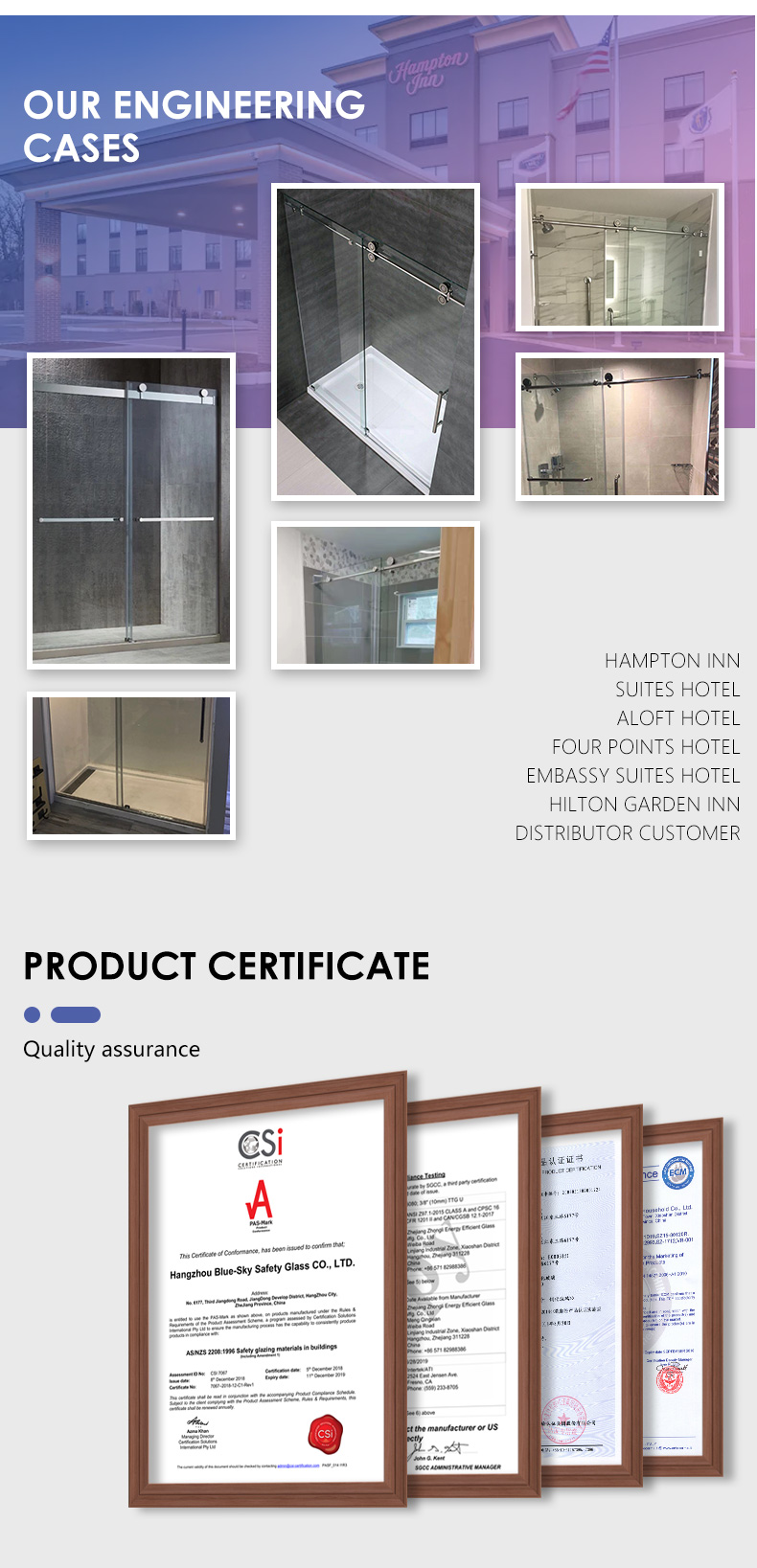 High quality Hotel shower room 10 mm frameless Shower glass simple shower enclosure 14
