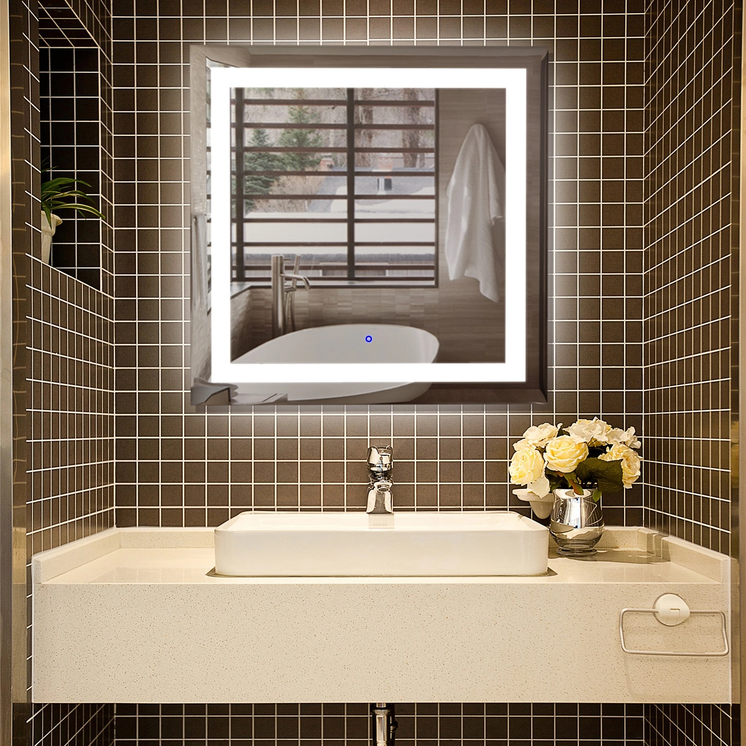 New Design Decorative Mirror Rectangle LED Wall Mirror for Bathroom 8