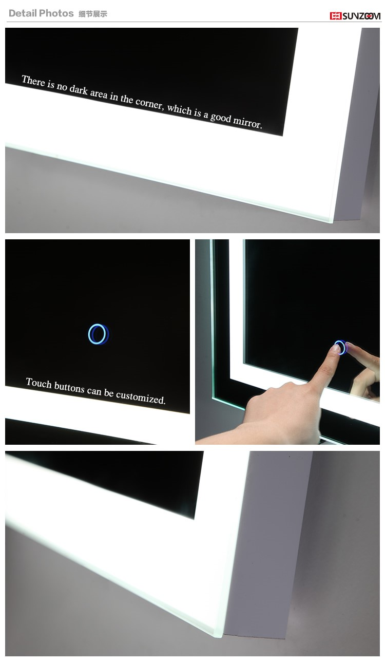 New Design Decorative Mirror Rectangle LED Wall Mirror for Bathroom 9