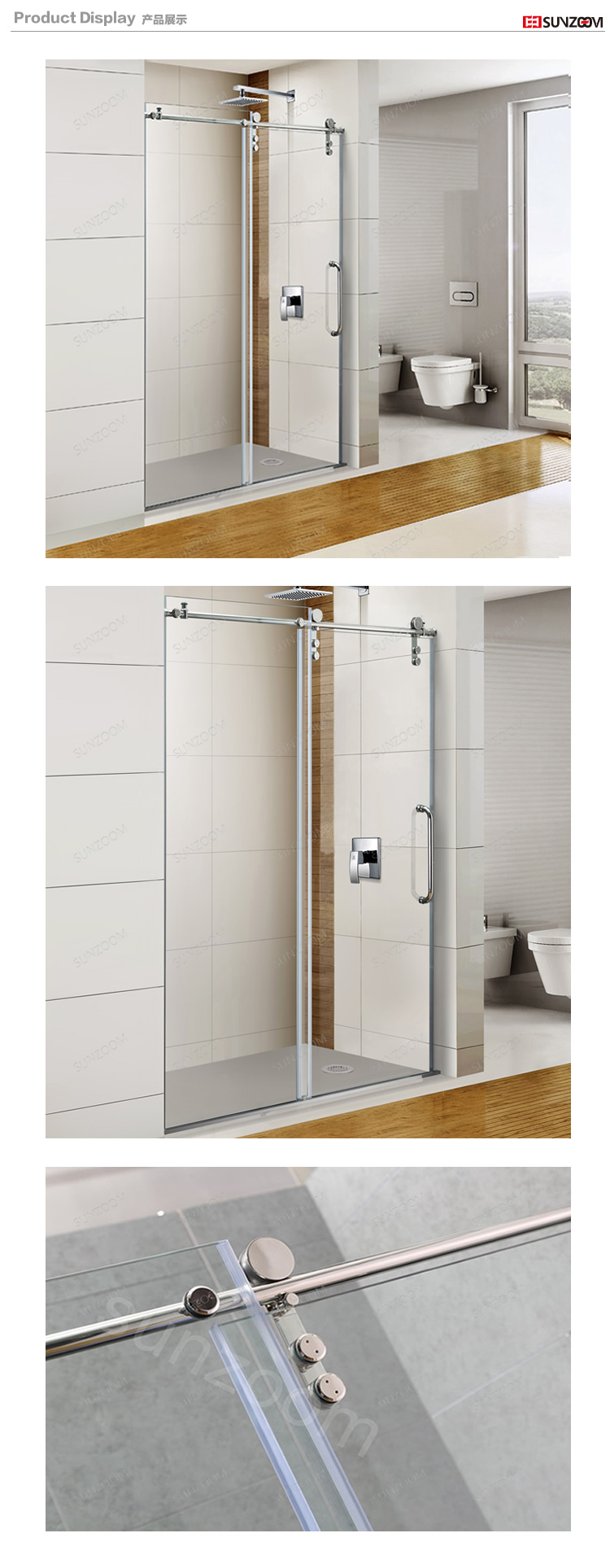 SUNZOOM frameless sliding clear glass shower door 8