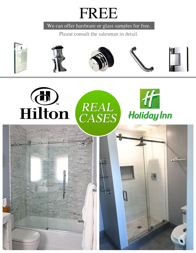 SUNZOOM frameless sliding clear glass shower door 6