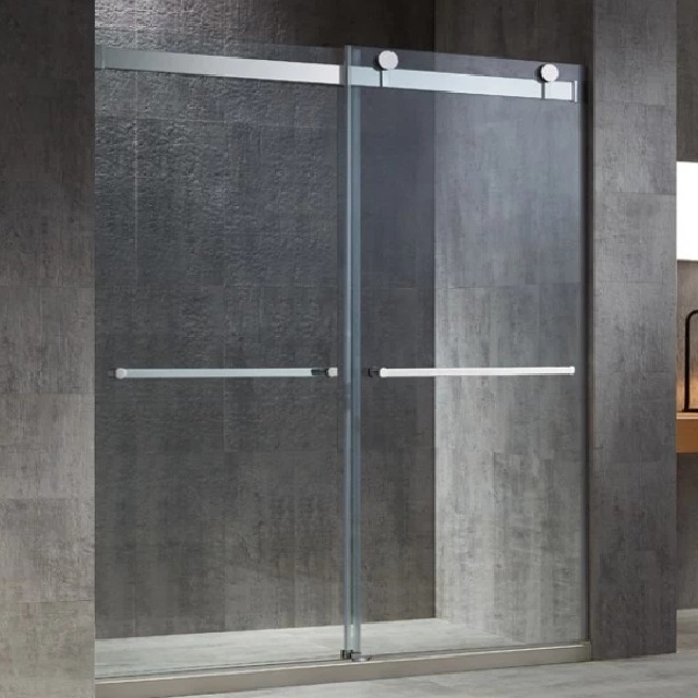 USA Hotels New Style Tempered Clear Glass Frameless Bypass Sliding Glass Shower Door 8