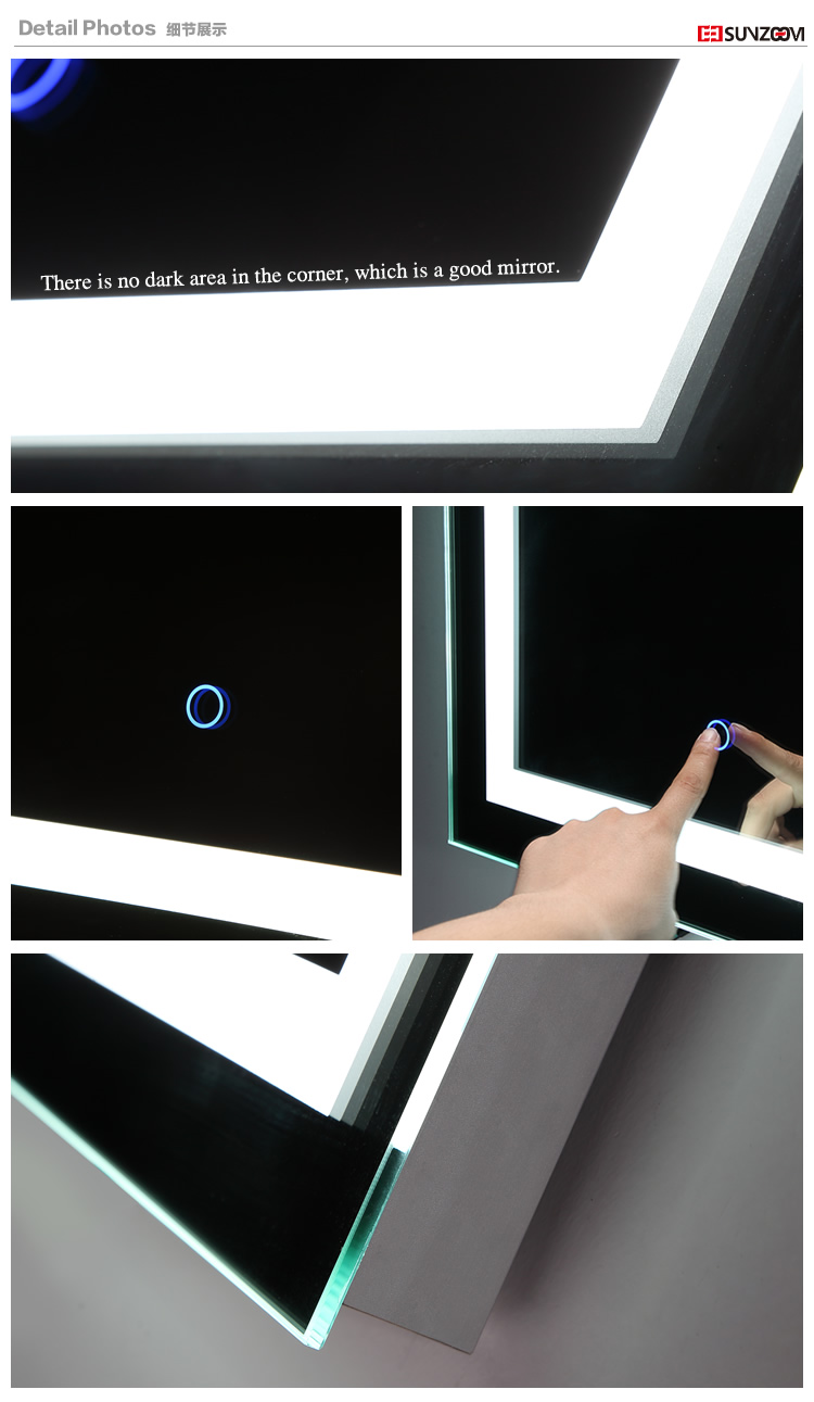 Modern frameless smart bluetooth backlit mirror bathroom led mirror 11