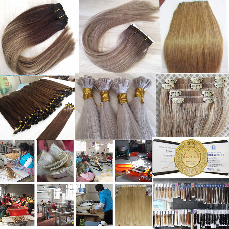 Super Light Popular in USA Double Drawn European Hair 100 Hand made handtied weft hair extensions 15