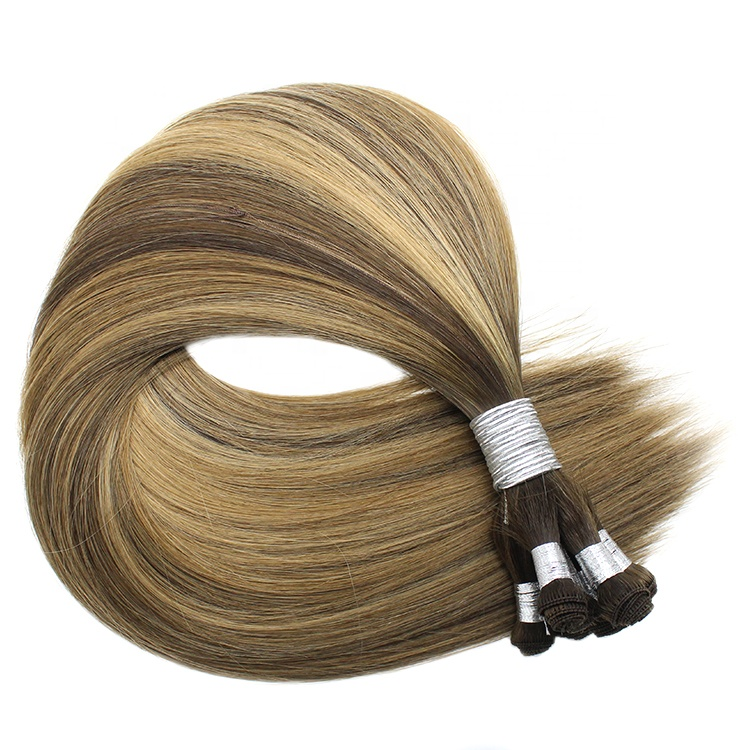 Super Light Popular in USA Double Drawn European Hair 100 Hand made handtied weft hair extensions 8