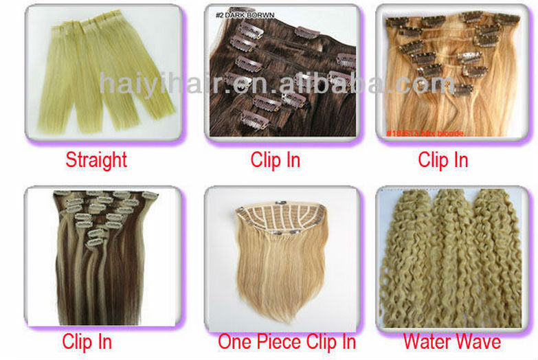 Wholesale 5A Grade Blonde Color Body Wave Clip In Virgin Brazilian Remy Human Hair Extensions 14