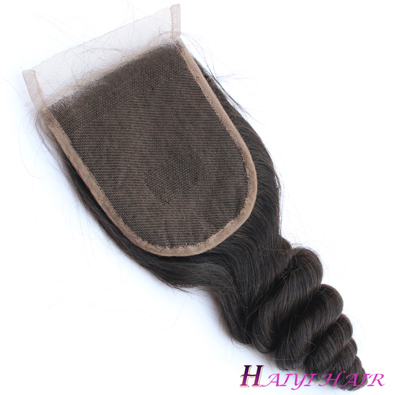 Free Logo 100% Human Hair Loose Wave Virgin Hair Brazilian Hair Lace Closure 4X4 10