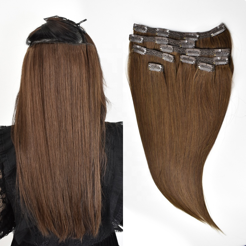 Customized Double Drawn Thick Ends Remy Clip In Hair Extension 12