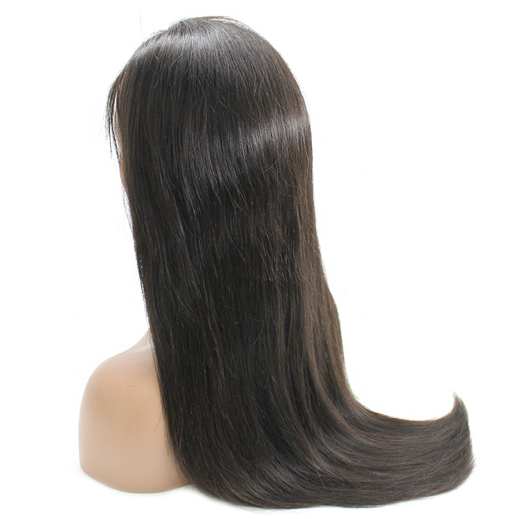 Remy raw virgin brazilian human hair straight lace  wig human hair with young girl for black women 15