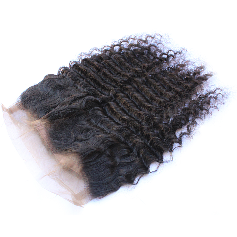 High Quality No Chemical Process Hair Extensions Deep Wave Hair Frontal  For Black Women 13