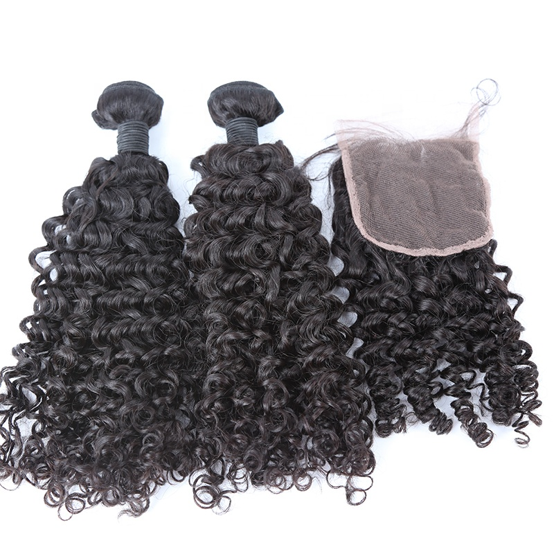 Curly Wave Virgin Hair Fee Logo 100% Human Hair Brazilian  Hair Lace Closure 8