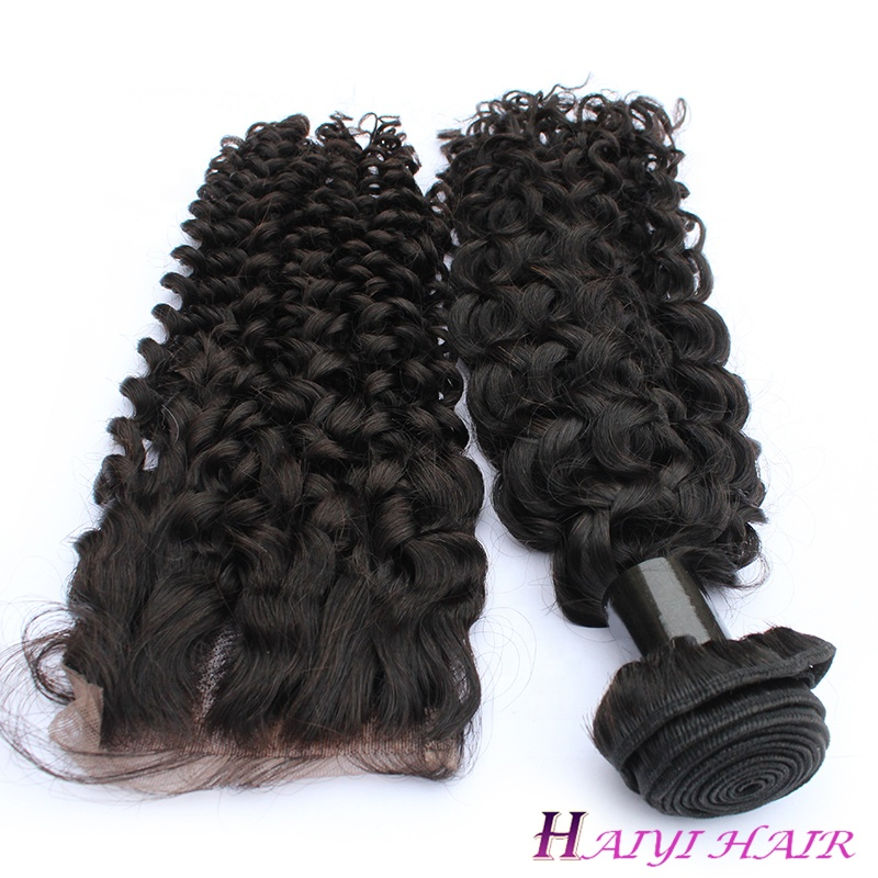 Curly Wave Virgin Hair Fee Logo 100% Human Hair Brazilian  Hair Lace Closure 6