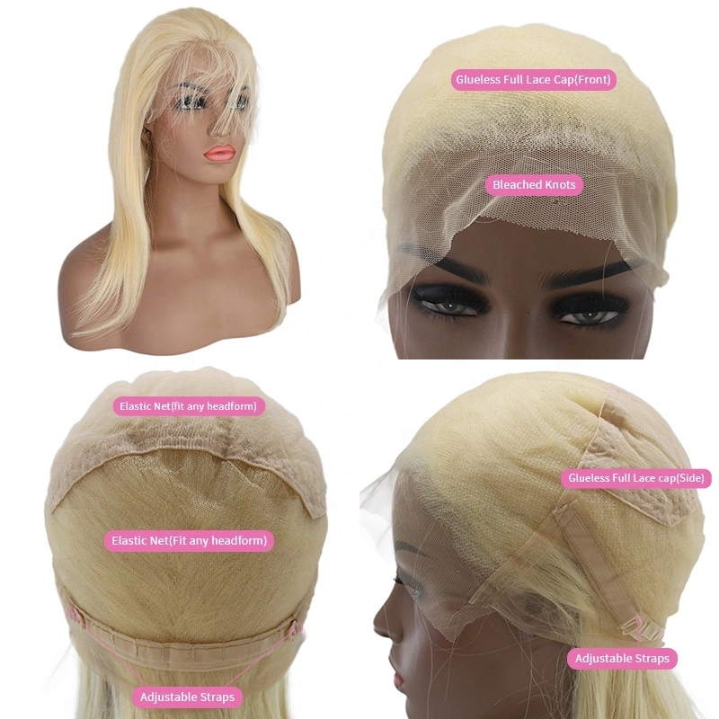 Wholesale 150% 180% Density Straight Raw Brazilian Hair Unprocessed Full Lace Wig 13