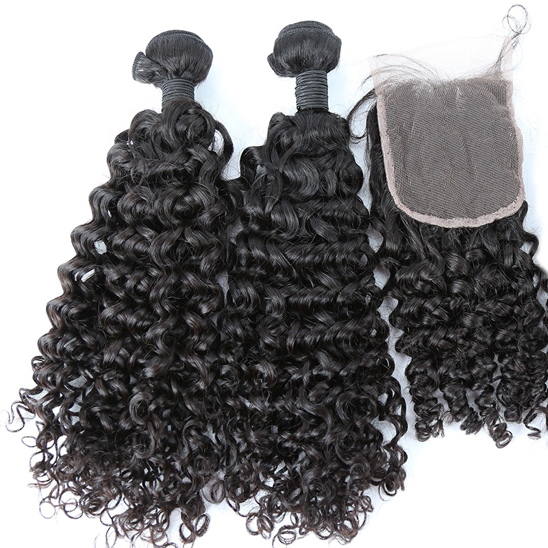 Wholesale top quality 100% unprocessed grade 10A preplucked Chinese curly raw virgin hair lace closure 8