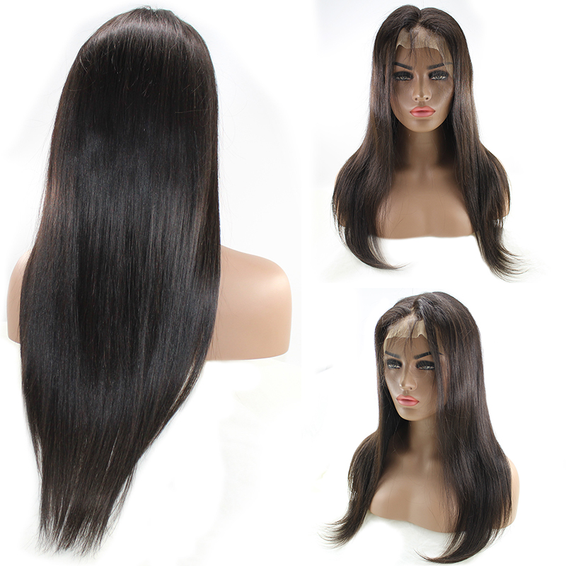 High Quality Black Women Brazilian Human Hair Wig Straight Full Lace Wig 7