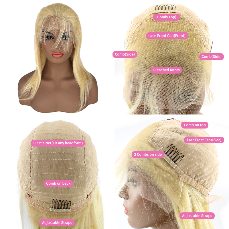 Wholesale Natural Virgin Cuticle Aligned  Brazilian Silky 613 BlondeBob Human Hair Wig For Black Women 15