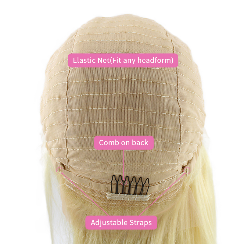 Wholesale Natural Virgin Cuticle Aligned  Brazilian Silky 613 BlondeBob Human Hair Wig For Black Women 14