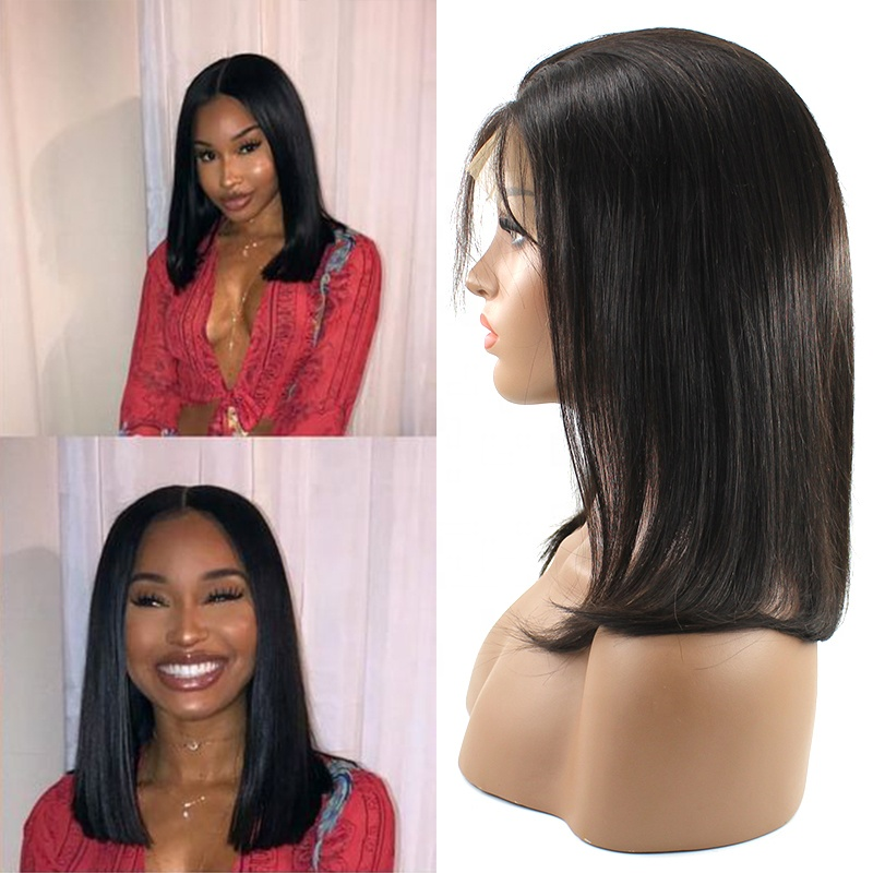 Wholesale Pre plucked 100% Unprocessed Cuticle Alighted Human BOB Straight lace frontal wig with Fringe 9