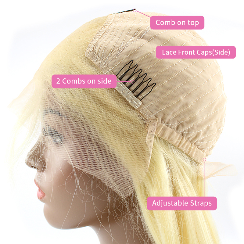 Wholesale 613 blonde lace frontal wig factory price brazilian human hair lace front hair wig 11