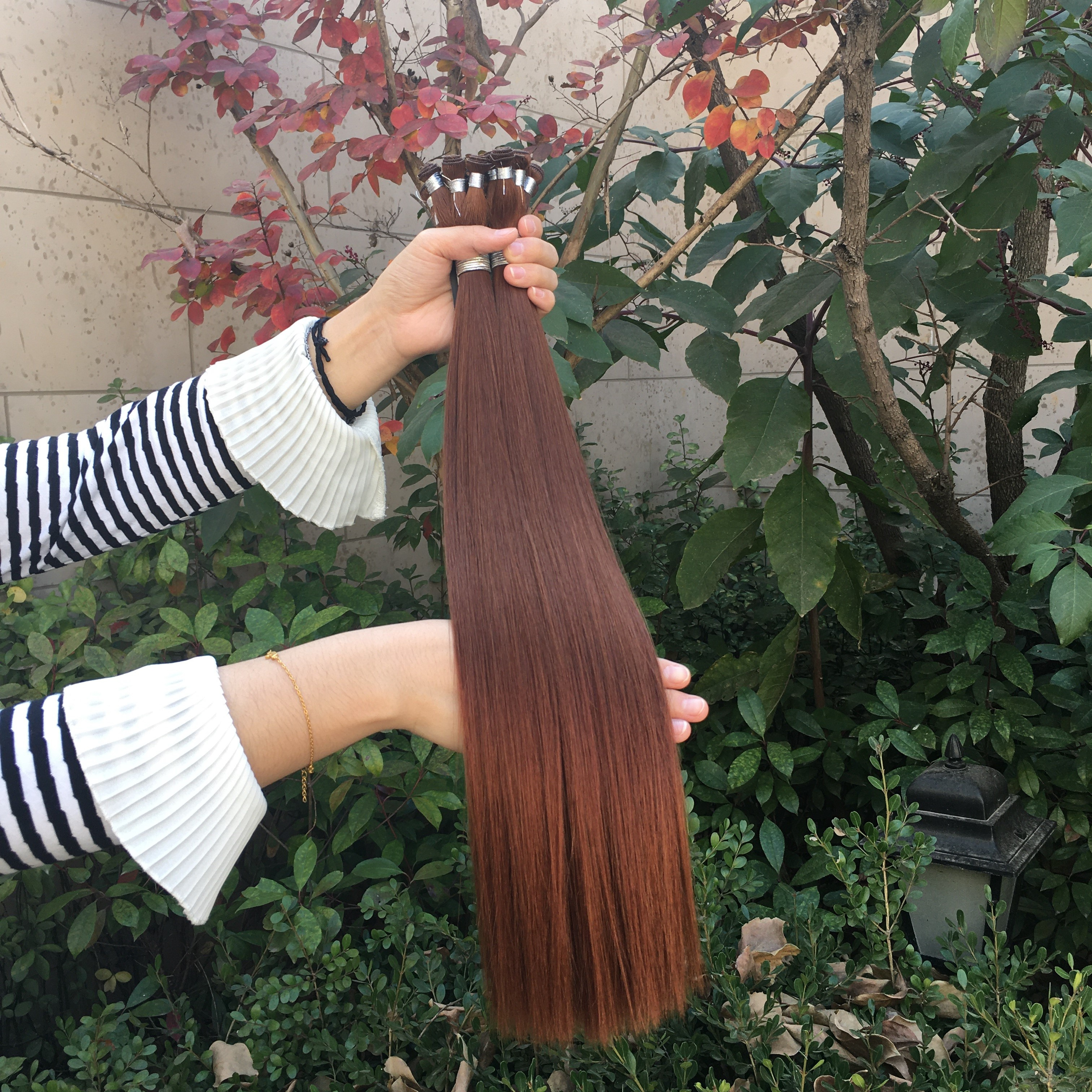2019 Top selling Hand tied weft Remy hair extensions thick ends Russian super double drawn Hair weft Intact cuticle 11