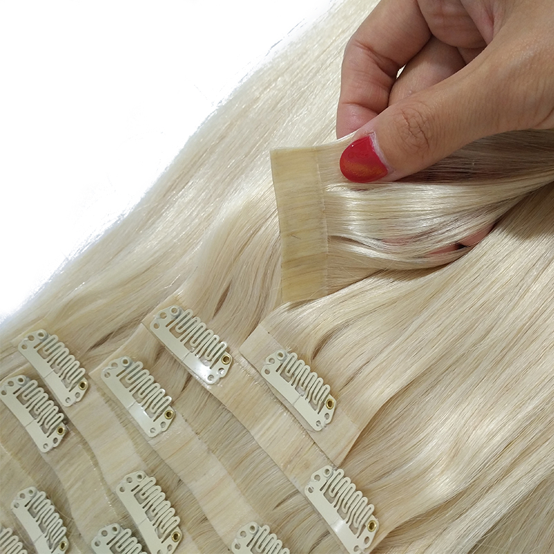 Fast Shipping Wholesale Top Quality Natural Weft Pu Seamless Clip Hair Extensions 10