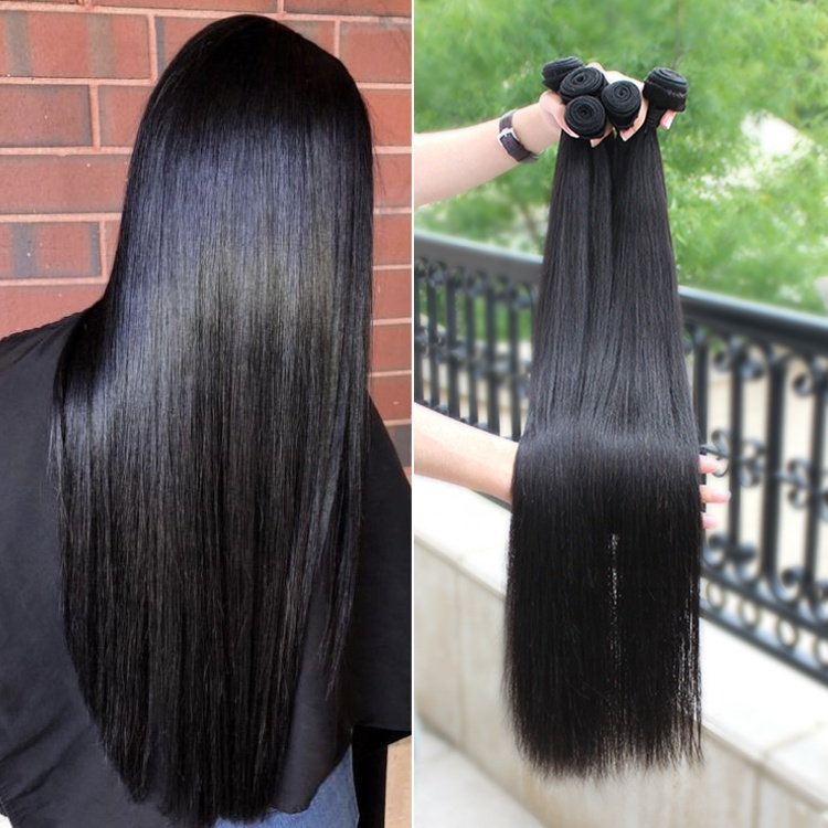 Factory Price 10A Virgin Unprocessed Straight Hair 4 Bundles With Closure Brazilian Hair 11