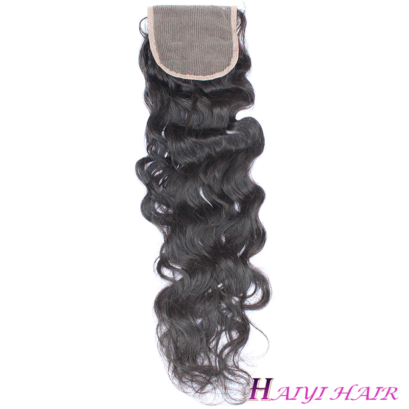 Unprocessed human hair  Malaysian Virgin Hair Natural Wave Lace Clousure 12