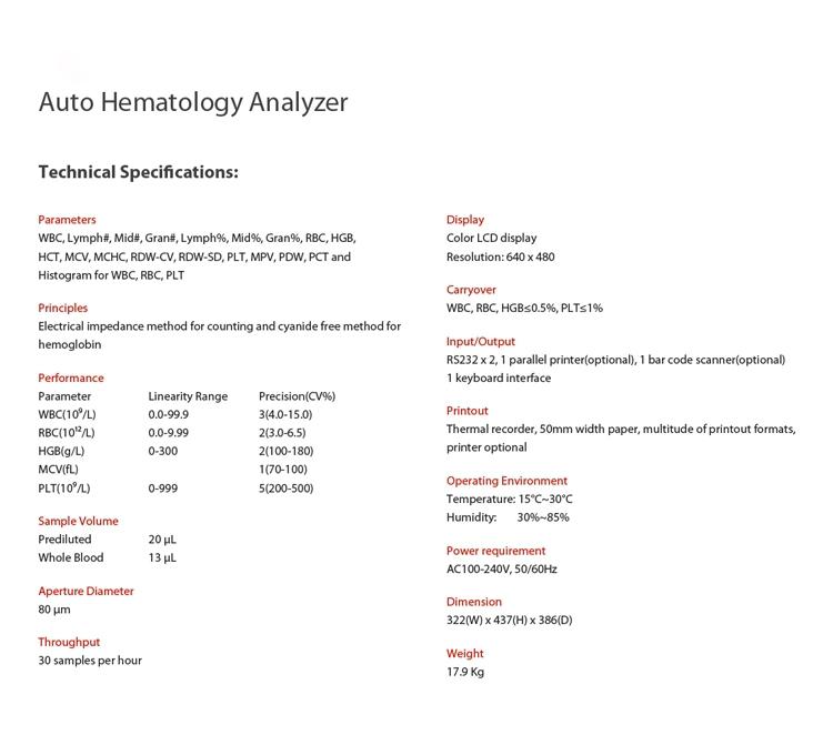 Hematology Analyser Machine