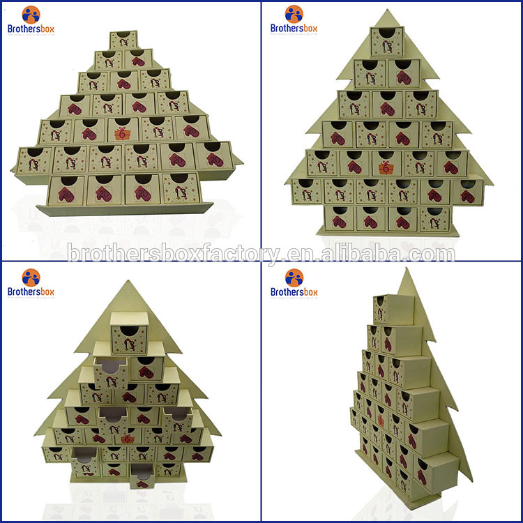 custom design chocolate gift boxes diy christmas tree advent calendar box empty advent calendar boxes with drawer 7