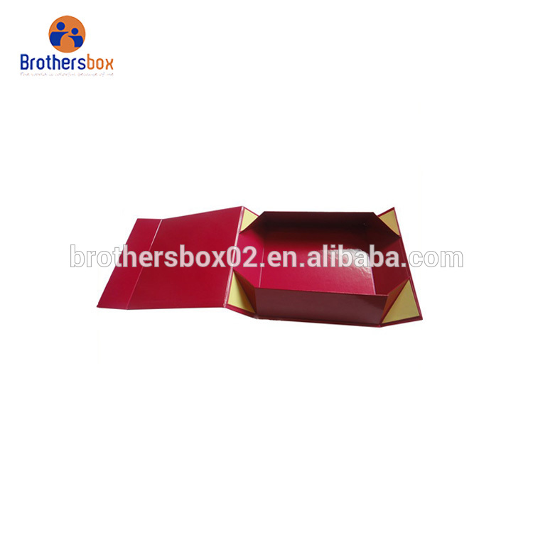 Handmade custom printed foldable red paper gift box for wedding 4