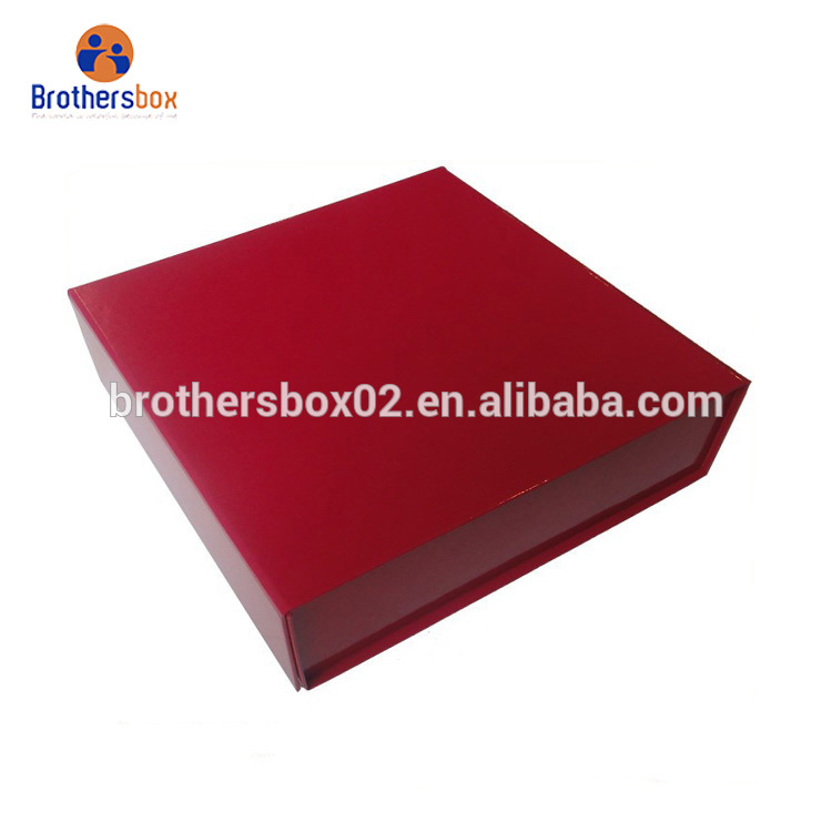 Handmade custom printed foldable red paper gift box for wedding 5
